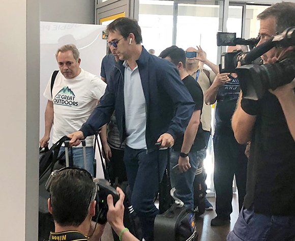 Spain's former national soccer head coach Julen Lopetegui (2-L) arrives to Krasnodar Airport in Krasnodar, Russia, 13 June 2018, before flying back to Spain. The Spanish Football Federation (RFEF) announced on 13 June 2018 that Lopetegui has been sacked as national coach one day after agreeing to take over Real Madrid. The FIFA World Cup will take place in Russia from 14 June to 15 July 2018.  EPA/STRINGER