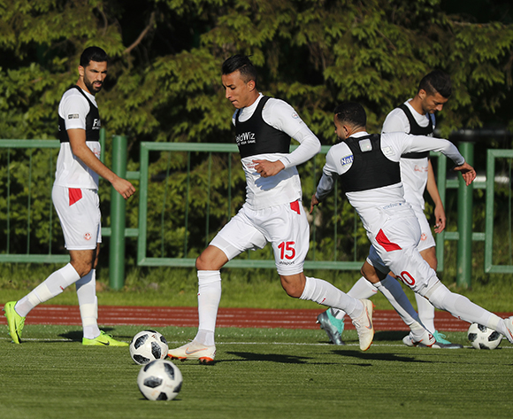 Tunisian players Ahmed Khalil (2-L) and Ghaylen Chaaleli (2-R) attend a training session of the Tunisian national soccer team in Moscow, Russia, 13 June 2018. Tunisia prepares for the FIFA World Cup 2018 taking place in Russia from 14 June until 15 July 2018.  EPA/SERGEI ILNITSKY
