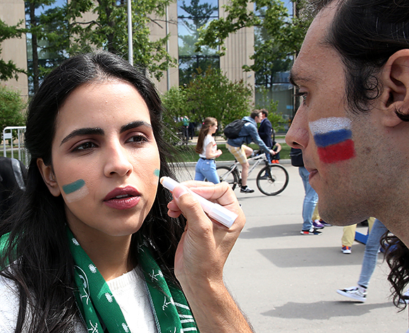 Fans of Saudi Arabia arrive to the stadium for the FIFA World Cup 2018 group A preliminary round soccer match between Russia and Saudi Arabia in Moscow, Russia, 14 June 2018.  EPA/ABEDIN TAHERKENAREH