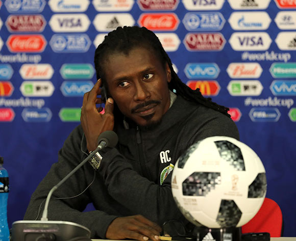 Senegal's head coach Aliou Cisse attends a press conference in Moscow, Russia, 18 June 2018. Senegal will face Poland in the FIFA World Cup 2018 Group H preliminary round soccer match on 19 June 2018.  EPA/Abedin Taherkenareh