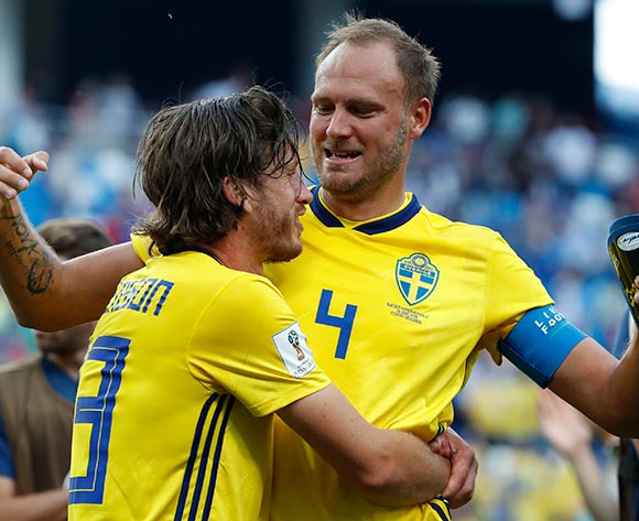 Andreas Granqvist (R) and Gustav Svensson of Sweden celebrate after the FIFA World Cup 2018 group F preliminary round soccer match between Sweden and South Korea in Nizhny Novgorod, Russia, 18 June 2018. Sweden won the match 1-0.EPA/Franck Robichon