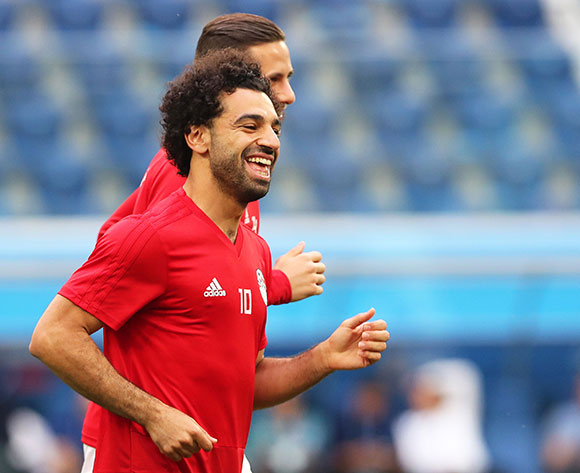 Egypt's Mohamed Salah (front) attends his team's training session in St.Petersburg, Russia, 18 June 2018. Egypt will face Russia in the FIFA World Cup 2018 group A preliminary round soccer match on 19 June 2018. EPA/Tolga Bozoglu
