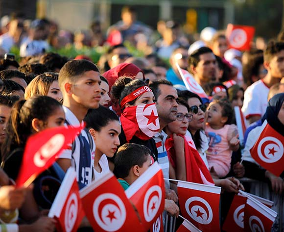 Tunisian fans as they watch the broadcast of the FIFA World Cup Group G soccer match between Tunisia and England, in Tunis, Tunisia, 18 June 2018  EPA/Str
