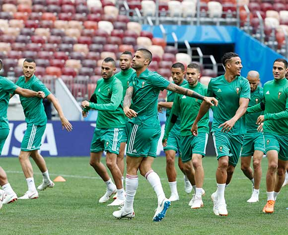 Moroccan national team player Manuel Da Costa (C) and teammates attend training session at Luzhniki stadium in Moscow, Russia, 19 June 2018. EPA/Sergei Chirikov