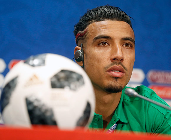 Morocco player Nabil Dirar during a press conference at Luzhniki stadium in Moscow, Russia, 19 June 2018. EPA/Sergei Chirikov