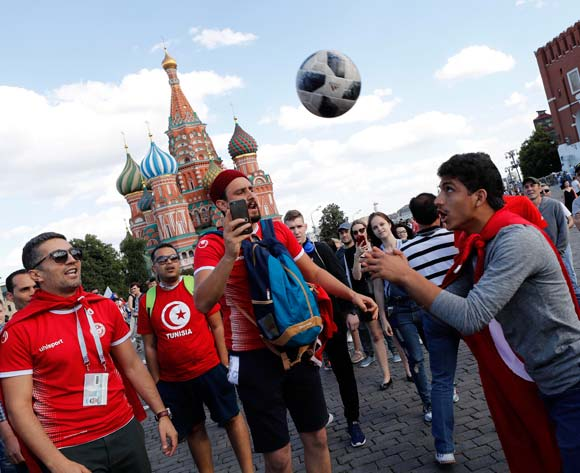 Tunisian fans play with a ball in the Red Square, in Moscow, Russia, 20 June 2018. Tunisia will face in the FIFA World Cup 2018 on 23 June 2018 in Moscow. EPA/Felipe Trueba