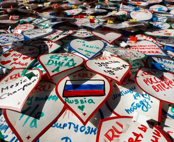 A wall full of notes written by football fans in the FIFA World Cup 2018 fan zone in Moscow, Russia, 20 June 2018. Tunisia will face in the FIFA World Cup 2018 on 23 June 2018 in Moscow. EPA/Felipe Trueba