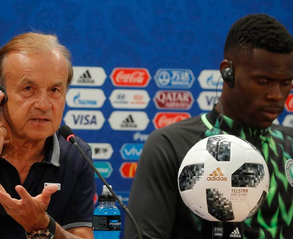 Nigeria soccer team head coach Gernot Rohr (L) and goalkeeper Francis Uzoho during a press conference at the Volgograd Arena in Volgograd, Russia, 21 June 2018. Nigeria will face Iceland in their first preliminary round Group D match at the FIFA World Cup 2018. EPA/Sergei Ilnitsky