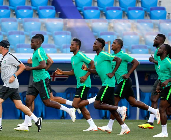 Nigeria players warm up during Nigeria official training session at the Volgograd Arena in Volgograd, Russia, 21 June 2018. Nigeria will face Iceland in their Group D match at the FIFA World Cup 2018. EPA/Sergei Ilnitsky