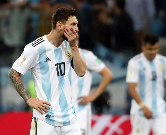 Lionel Messi of Argentina reacts after the 0-3  during the FIFA World Cup 2018 group D preliminary round soccer match between Argentina and Croatia in Nizhny Novgorod, Russia, 21 June 2018.EPA/Vassil Donev