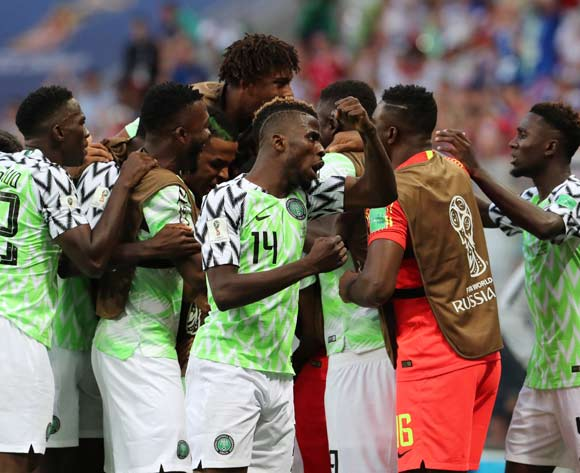 Players of Nigeria celebrates the 1-0 goal during the FIFA World Cup 2018 group D preliminary round soccer match between Nigeria and Iceland in Volgograd, Russia, 22 June 2018. EPA/Zurab Kurtsikidze