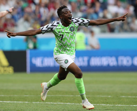 Ahmed Musa of Nigeria celebrates after scoring the 2-0 goal during the FIFA World Cup 2018 group D preliminary round soccer match between Nigeria and Iceland in Volgograd, Russia, 22 June 2018. EPA/Zurab Kurtsikidze