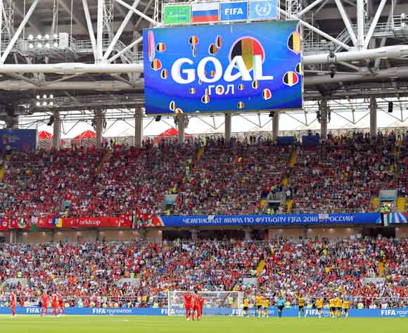 A goal is announced on a huge screen at the Spartak Stadium during the FIFA World Cup 2018 group G preliminary round soccer match between Belgium and Tunisia in Moscow, Russia, 23 June 2018.EPA/Peter Powell
