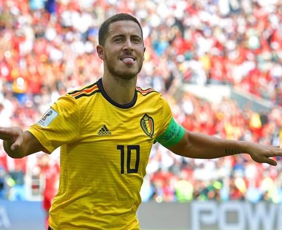 Eden Hazard of Belgium celebrates after scoring the 4-1 lead during the FIFA World Cup 2018 group G preliminary round soccer match between Belgium and Tunisia in Moscow, Russia, 23 June 2018. EPA/Peter Powell