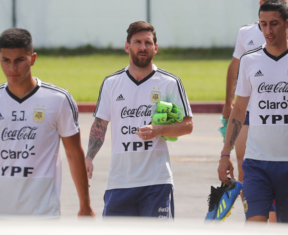 Argentina's Lionel Messi (C) and his teammates arrive for their training session in Bronnitsy, Russia, 24 June 2018. Argentina will face Nigeria in their FIFA World Cup Group D preliminary round soccer match on 26 June 2018. EPA/Maxim Shipenkov