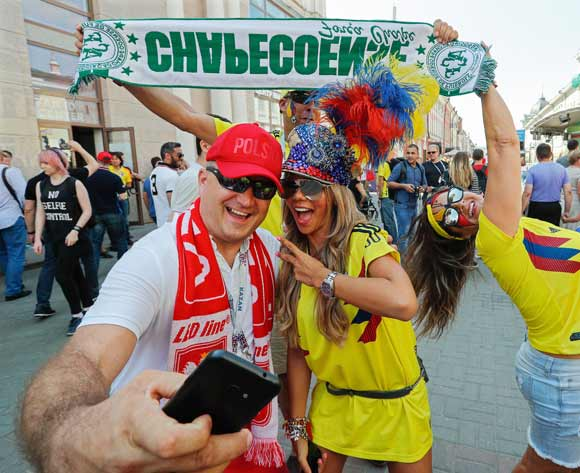 Supporters of Colombia and Poland (L) gather in central Kazan, Russia, 24 June 2018. Colombia will face Poland in their FIFA World Cup 2018 Group H preliminary round soccer match in Kazan on 24 June 2018. EPA/Sergey Dolzhenko