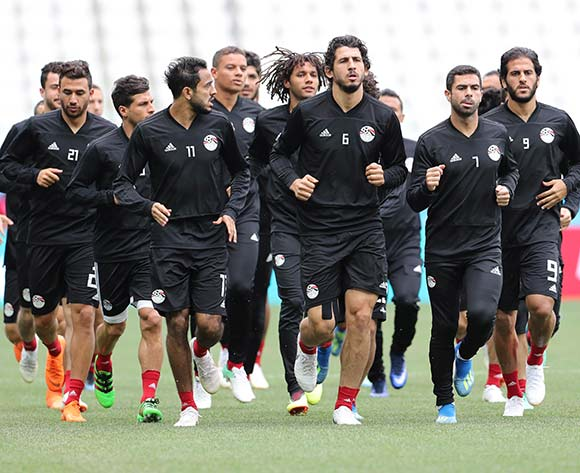 Players of Egypt's team attend a training session in Volgograd, Russia, 24 June 2018. Egypt will face Saudi Arabia in the FIFA World Cup 2018 preliminary round soccer match on 25 June 2018. EPA/Zurab Kurtsikidze