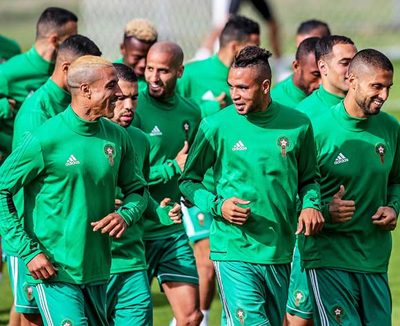Players of Morocco attend their team's training session in Kaliningrad, Russia, 24 June 2018. Morocco will face Spain in the FIFA World Cup 2018 Group B preliminary round soccer match on 25 June 2018.  EPA/Martin Divisek