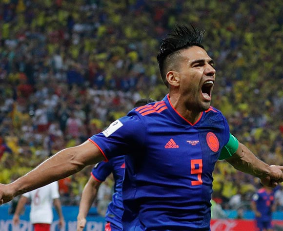 Radamel Falcao of Colombia celebrates after scoring the 0-2 goal during the FIFA World Cup 2018 group H preliminary round soccer match between Poland and Colombia in Kazan, Russia, 24 June 2018.EPA/Robert Ghement