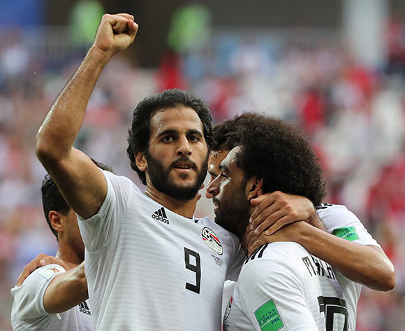 Mohamed Salah (R) of Egypt celebrates with team mate Marwan Mohsen (L) after scoring the 1-0 lead during the FIFA World Cup 2018 group A preliminary round soccer match between Saudi Arabia and Egypt in Volgograd, Russia, 25 June 2018. EPA/Zurab Kurtsikidze