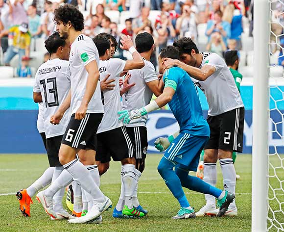 Egypt's goalkeeper Essam El-Hadary (2-R) celebrates with his teammates after saving a penalty during the FIFA World Cup 2018 group A preliminary round soccer match between Saudi Arabia and Egypt in Volgograd, Russia, 25 June 2018.EPA/Sergei Ilnitsky