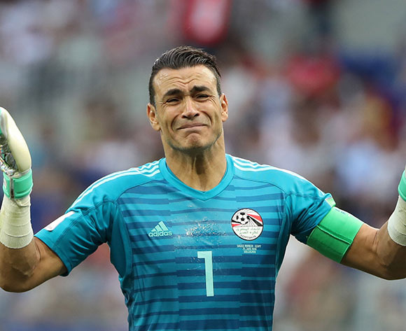 Goalkeeper Essam El-Hadary of Egypt reacts during the FIFA World Cup 2018 group A preliminary round soccer match between Saudi Arabia and Egypt in Volgograd, Russia, 25 June 2018. EPA-EFE/Zurab Kurtsikidze