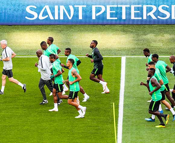 Nigeria's players attend a official training session at the St. Persburg stadium, in Saint Petersburg, Russia, 25 June 2018. Nigeria will face Argentina in the FIFA World Cup 2018 Group D preliminary round  soccer match on 26 June 2018. EPA/Georgi Licovski