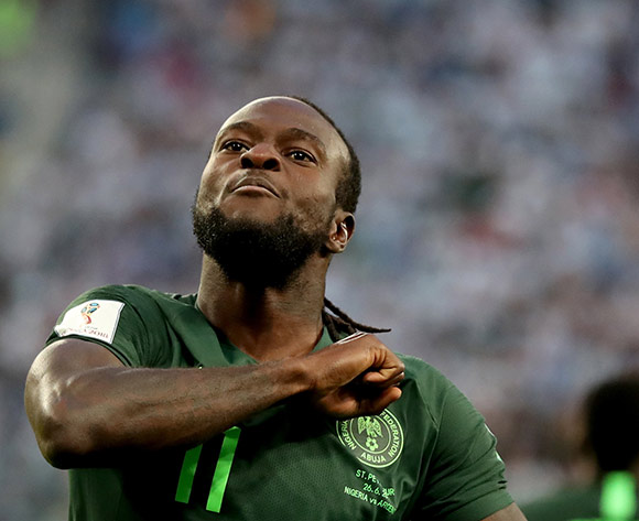 Victor Moses of Nigeria celebrates scoring the equalizer during the FIFA World Cup 2018 group D preliminary round soccer match between Nigeria and Argentina in St.Petersburg, Russia, 26 June 2018.EPA/Tolga Bozoglu