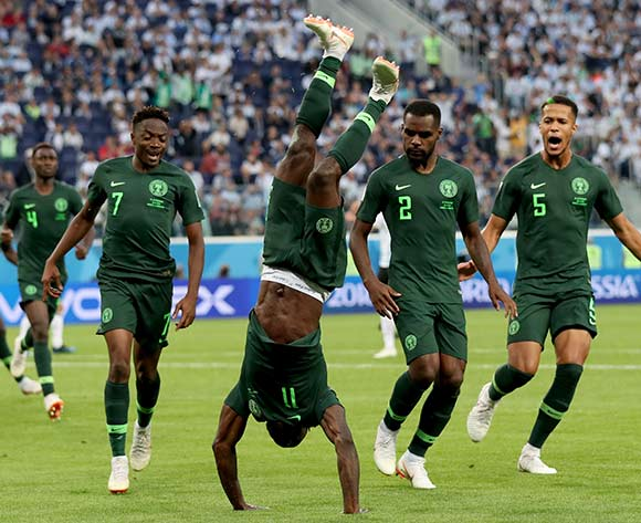 Victor Moses (C) of Nigeria performs a somersault after scoring the equalizer during the FIFA World Cup 2018 group D preliminary round soccer match between Nigeria and Argentina in St.Petersburg, Russia, 26 June 2018. EPA/Tolga Bozoglu