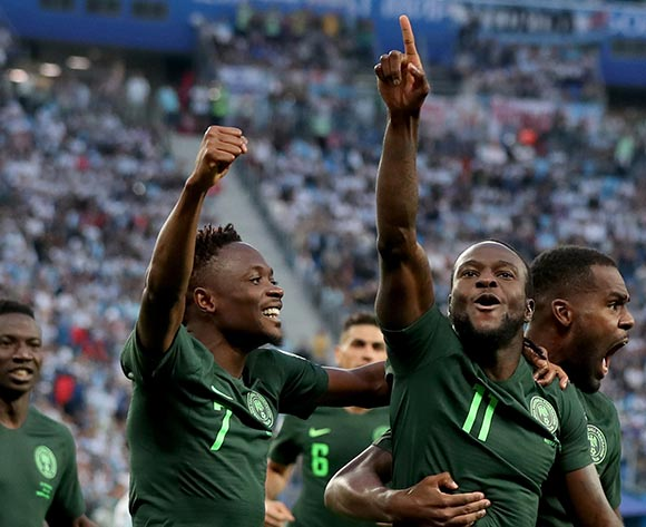 Victor Moses (2nd R) of Nigeria celebrates scoring the equalizer during the FIFA World Cup 2018 group D preliminary round soccer match between Nigeria and Argentina in St.Petersburg, Russia, 26 June 2018. EPA/Tolga Bozoglu