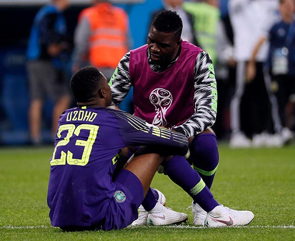 Goalkeeper Francis Uzoho of Nigeria reacts after the FIFA World Cup 2018 group D preliminary round soccer match between Nigeria and Argentina in St.Petersburg, Russia, 26 June 2018. EPA/Etienne Laurent