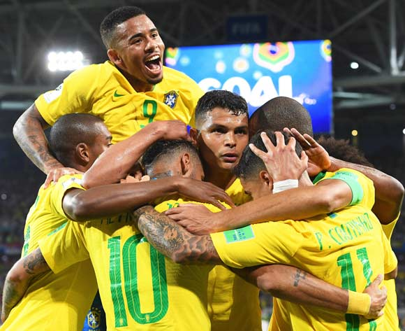 Thiago Silva (C) of Brazil celebrates with his teammates after scoring the 2-0 lead during the FIFA World Cup 2018 group E preliminary round soccer match between Serbia and Brazil in Moscow, Russia, 27 June 2018. EPA/Facundo Arrizabalaga