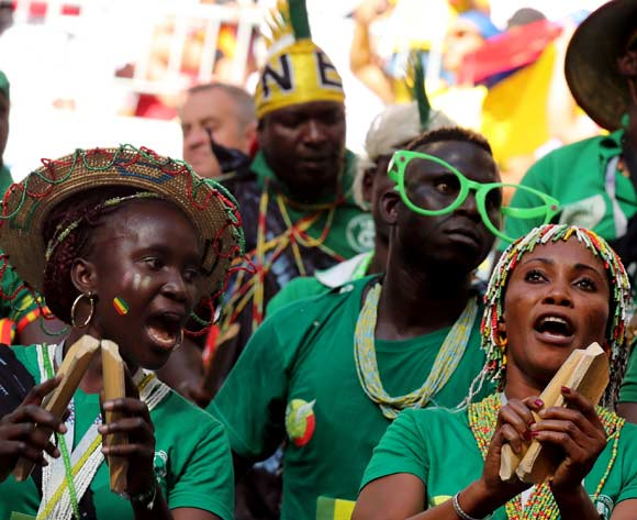 Supporters of Senegal cheer during the FIFA World Cup 2018 group H preliminary round soccer match between Senegal and Colombia in Samara, Russia, 28 June 2018. EPA/Tatyana Zenkovich