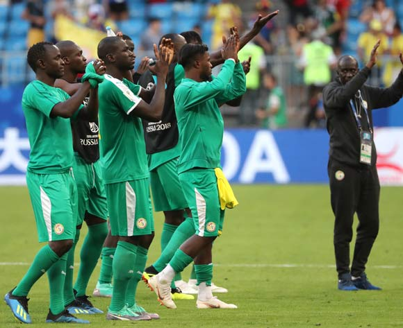 Players of Senegal react after the FIFA World Cup 2018 group H preliminary round soccer match between Senegal and Colombia in Samara, Russia, 28 June 2018.