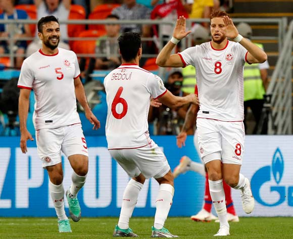 Fakhreddine Ben Youssef (R) of Tunisia celebrates scoring the equalizer during the FIFA World Cup 2018 group G preliminary round soccer match between Panama and Tunisia in Saransk, Russia, 28 June 2018.EPA/Rungroj Yongrit