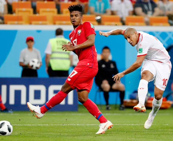 Wahbi Khazri of Tunisia (R) and Luis Ovalle of Panama in action during the FIFA World Cup 2018 group G preliminary round soccer match between Panama and Tunisia in Saransk, Russia, 28 June 2018. EPA/Erik S Lesser