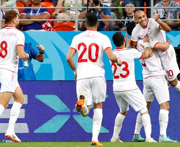 Wahbi Khazri (R) of Tunisia celebrates scoring the 2-1 lead during the FIFA World Cup 2018 group G preliminary round soccer match between Panama and Tunisia in Saransk, Russia, 28 June 2018.