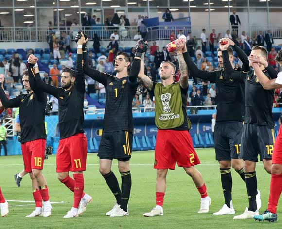 Players of Belgium celebrate after the FIFA World Cup 2018 group G preliminary round soccer match between England and Belgium in Kaliningrad, Russia, 28 June 2018. Belgium won the match 1-0. EPA/Martin Divisek