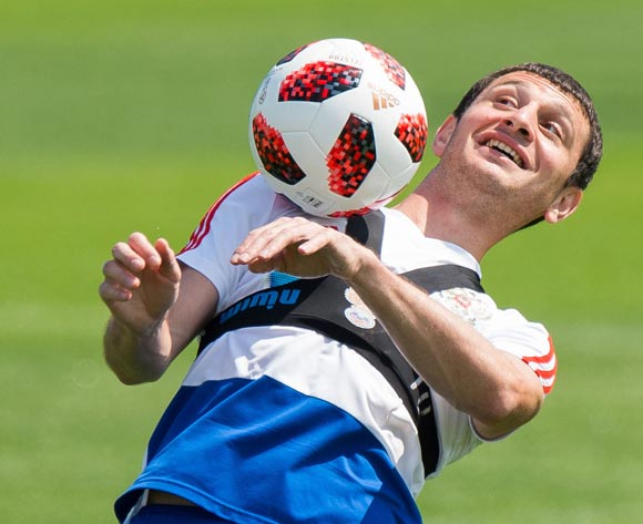 Russia player Alan Dzagoev during a training session held in Federal Sports Centre Novogorsk, Novogorsk, Russian Federation, 29 June 2018. Russia will face Spain the Round  of 16 of the FIFA World Cup 2018 on 01 July. EPA/Peter Powell