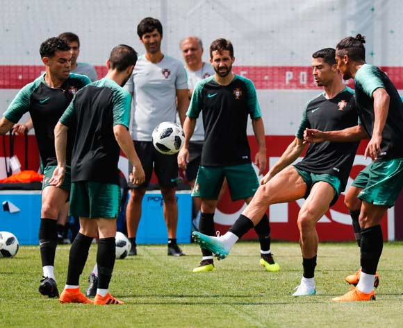 Portugal's players (L-R) Pepe, Joao Moutinho, Cristiano Ronaldo and Bruno Alves attend a training session at the Kratovo training camp, on the outskirts of Moscow, Russia, 29 June 2018. Portugal will face Uruguay in the Round of 16 of the FIFA World Cup 2018 on 30 June. EPA/Diogo Pinto