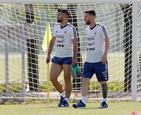 Argentinian players Lionel Messi (R) and Sergio Aguero attend a training session in Bronnitsy region, Moscow, Russia, 29 June 2018. Argentina will face France in a FIFA World Cup 2018 round of 16 match on 30 June. EPA/Alberto Estevez