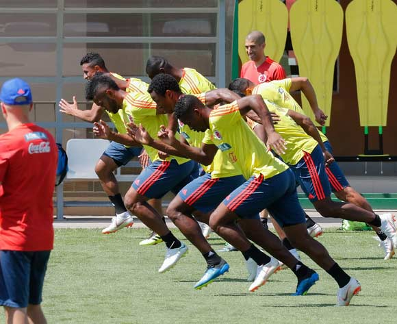 Colombia national soccer team players warm up during a training session at the Sviyaga stadium, Kazan, Russian Federation, 29 June 2018. Colombia will face England in their FIFA World Cup 2018 round of 16 soccer match in Moscow on 03 July 2018. EPA/Sergey Dolzhenko