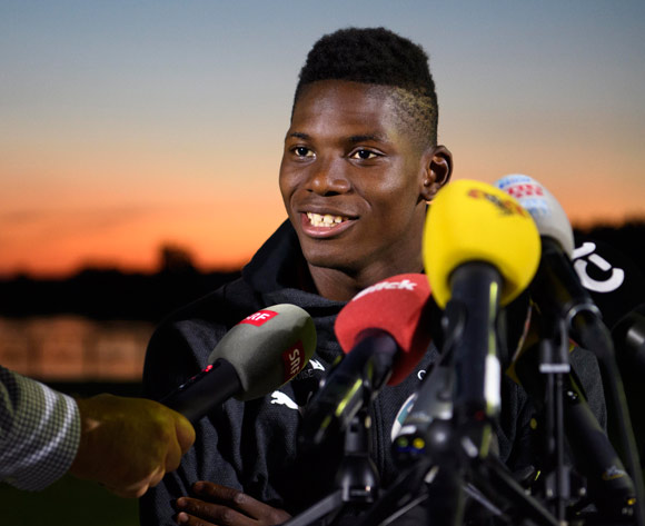 Switzerland's national team soccer forward Breel Embolo speaks during a press conference after a return trip to Switzerland to attend the birth of his daughter at the Lada Resort Hotel, the Switzerland's national soccer team base camp, in Togliatti, Russia, 29 June 2018. The Swiss team is in Russia for the FIFA World Cup 2018 taking place from 14 June until 15 July 2018. EPA/Laurent Gillieron