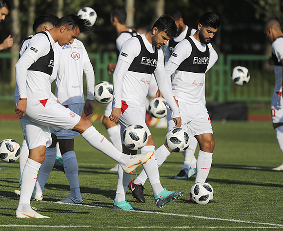 Players of Tunisia attend a training session