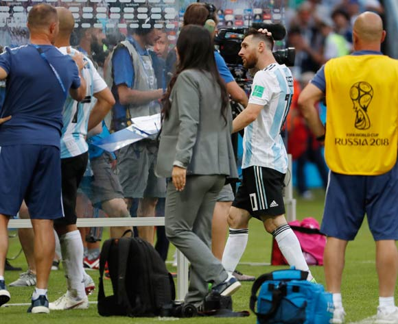 Lionel Messi (2-R) of Argentina leaves the pitch after the FIFA World Cup 2018 round of 16 soccer match between France and Argentina in Kazan, Russia, 30 June 2018. Argentina lost the match 3-4. EPA/Diego Azubel