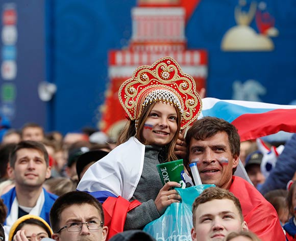 Russian fans during a public viewing of the FIFA World Cup 2018 round of 16 soccer match between Spain and Russia at the FIFA Fan Zone in St.Petersburg, Russia, 01 July 2018. EPA/Anatoly Maltsev