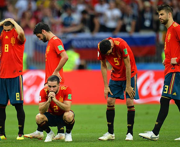 06855784Players of Spain react during the penalty shootout of the FIFA World Cup 2018 round of 16 soccer match between Spain and Russia in Moscow, Russia, 01 July 2018. Russia won 4-3 on penalties. EPA/Peter Powell