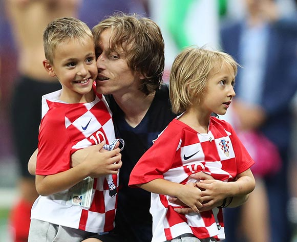 Luka Modric of Croatia celebrates with his children son Ivano and daughter Ema after Croatia won the FIFA World Cup 2018 round of 16 soccer match between Croatia and Denmark in Nizhny Novgorod, Russia, 01 July 2018. EPA/Tolga Bozoglu
