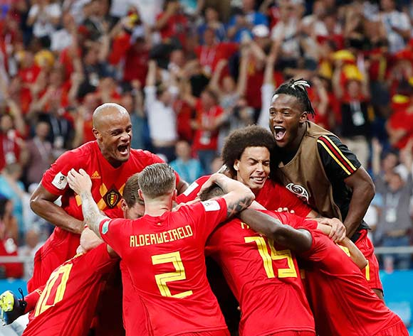 06859517 Players Belgium celebrate after scoring the winning goal during the FIFA World Cup 2018 round of 16 soccer match between Belgium and Japan in Rostov-On-Don, Russia, 02 July 2018. EPA/Francis R Malasig