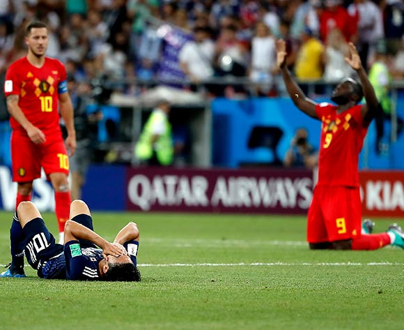 Shinji Kagawa of Japan (front), Romelu Lukaku of Belgium (R) and Eden Hazard of Belgium (L) react after the FIFA World Cup 2018 round of 16 soccer match between Belgium and Japan in Rostov-On-Don, Russia, 02 July 2018. EPA/Francis R Malasig